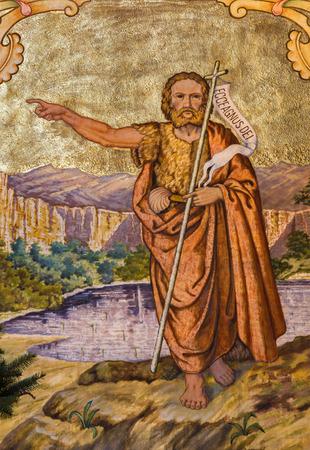 PEZINOK, SLOVAKIA - JANUARY 30, 2013: Fresco of st. John the Baptist by Augustin Barta from year 1942 - 1945 in Lover church. Editorial