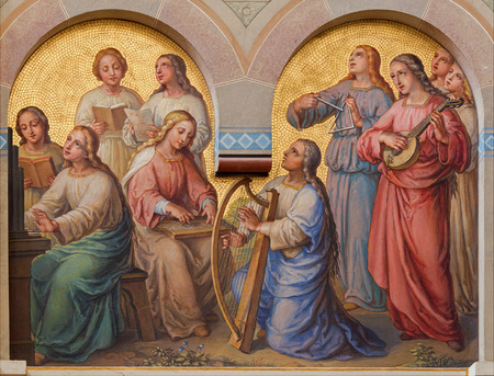 ウィーン, オーストリア - 2014 年 2 月 17 日: カルメル会教会 Dobling で 1906年-1911 年からヨセフ カストナーによって天の聖なる女性の聖歌隊。