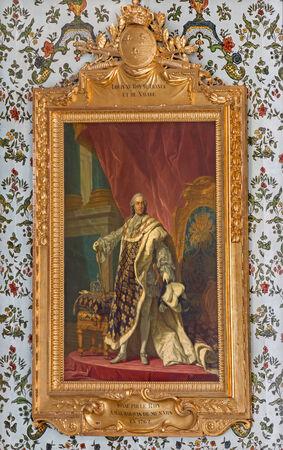 anton: SAINT ANTON, SLOVAKIA - FEBRUARY 26, 2014  Louis XV king of France  Paint in Golden saloon in palace Saint Anton by Jacob van Loo  1614 - 1670