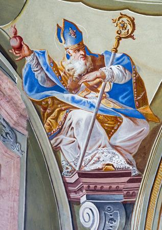 anton: SAINT ANTON, SLOVAKIA - FEBRUARY 26, 2014: Fresco of saint Augustine big teacher of west church from ceiling of chapel in Saint Anton palace by Anton Schmidt from years 1750 - 1752.