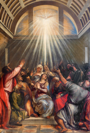 VENICE, ITALY - MARCH 13, 2014: The Descent of the Holy Ghost by Titian (1488 - 1576) in church Santa Maria della Salute. Éditoriale