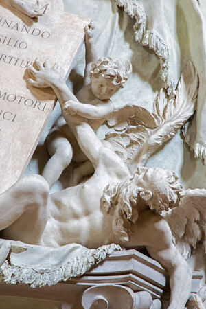 pio: BOLOGNA, ITALY - MARCH 16, 2014: Detail of baroque funeral memorial of General Marsili (1733) by Angelo Pio in church Saint Dominic or San Domenico church.