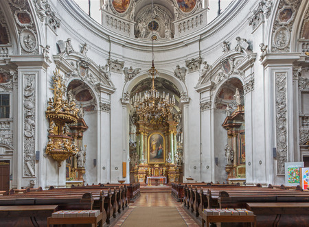 nave: VIENNA, AUSTRIA - FEBRUARY 17, 2014: Nave of baroque Servitenkirche - church completed in 1670.