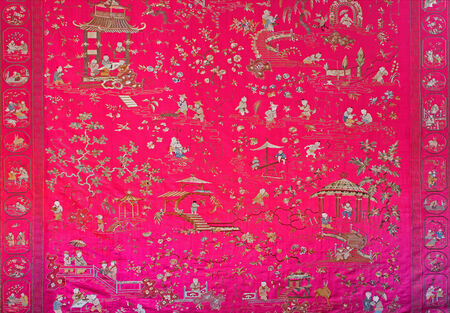 anton: SAINT ANTON, SLOVAKIA - FEBRUARY 26, 2014: Tapestry in the Chinese saloon from 19. cent. in palace Saint Anton.