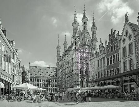 leuven: LEUVEN, BELGIUM - SEPTEMBER 3, 2013: Gothic town hall and square from north-west. Editorial