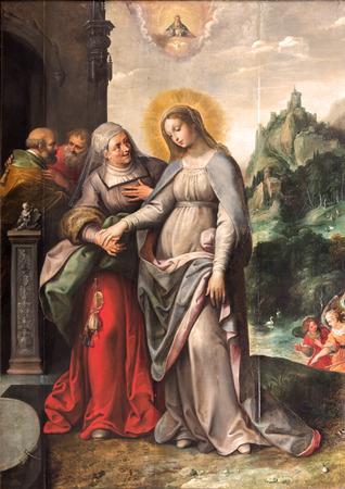 virgen maria: AMBERES, BÉLGICA - 5 de septiembre de 2013: La Visitación de la Virgen María a Isabel por Frans Francken (1581-1642) en la iglesia de Saint Pauls (Paulskerk) Editorial