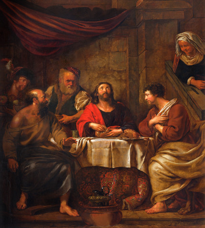 disciples: MECHELEN, BELGIUM - JUNE 14, 2014: The central part of the paint Jesus and disciple of Emausy at supper by G. Herreuns (1793)  in st. Johns church or Janskerk.