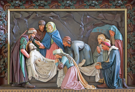 giles: BRUGGE, BELGIUM - JUNE 13, 2014: The Burial of Christ. Relief in st. Giles (Sint Gilliskerk) as part of the Passion of Christ cycle. Editorial