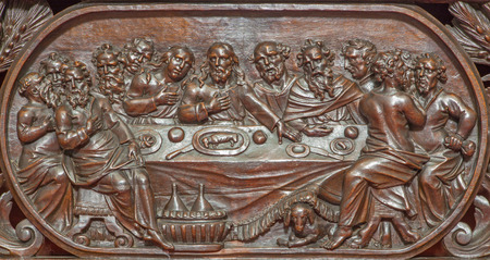 last supper: BRUGES, BELGIUM - JUNE 13, 2014: The carved relief of the Last supper of Jesus  in Karmelietenkerk (Carmelites church)  by carmelite Victor van de Heilige Jacob fromk 17. cent.