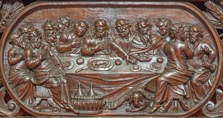 last supper: BRUGES, BELGIUM - JUNE 13, 2014: The carved relief of the Last supper of Jesus  in Karmelietenkerk (Carmelites church)  by carmelite Victor van de Heilige Jacob fromk 17. cent.