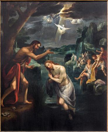 triptico: Malinas, Bélgica - 14 de junio 2014: El panel central del tríptico Baptistm de Cristo en la iglesia Nuestra Señora a través de Dyle. Editorial