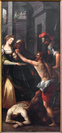triptych: MECHELEN, BELGIUM - JUNE 14, 2014: The Decapitation of st. John the Baptist by unknown painter as right panel of The Baptistm of Christ triptych in church Our Lady across de Dyle. Editorial