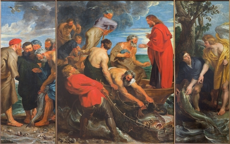 MECHELEN, BELGIUM - JUNE 14, 2014 The Miracle fishing triptych 1618 by Peter Paul Rubens in church Our Lady across de Dyle Editorial