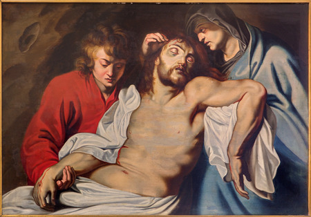 deposition: BRUGES, BELGIUM - JUNE 12, 2014: The Deposition of the croass by Adriaan Isenbrandt (circa 1530)  in the church Our Lady.