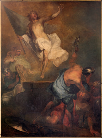 BRUGES, BELGIUM - JUNE 12, 2014: The Resurrection of Christ by L. Dedeyster (1694)  in st. Jacobs church (Jakobskerk). Editorial