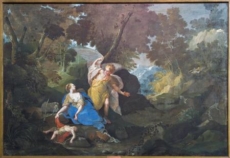 BRUGES, BELGIUM - JUNE 12, 2014: Hagar and Ismael on the desert by Mathias de Visht  (1694)  in st. Jacobs church (Jakobskerk)