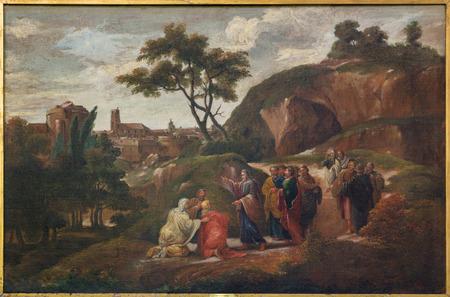 Bruges, Belgio - 12 giugno 2014: Vernice della scena di Gesù e dei discepoli di D. Nolet 1645) in v. Chiesa Jacobs (Jakobskerk). Archivio Fotografico - 30196479