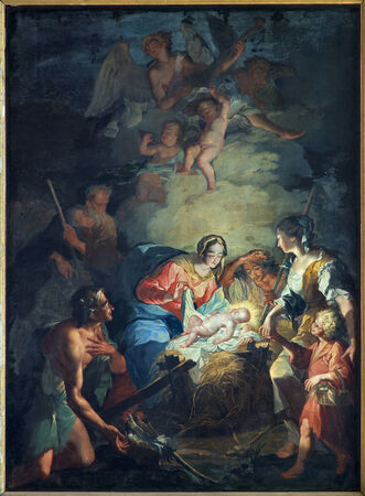 BRUGES, BELGIUM - JUNE 12, 2014: The Nativity scene by Mathias De Visch (1701-1765) from st. Jocobs church (Jakobskerk).