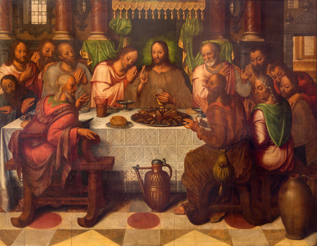 last supper: BRUGGE, BELGIUM - JUNE 13, 2014: The Last supper of Christ by Anthuensis Clakissins in st. Giles (Sint Gilliskerk).
