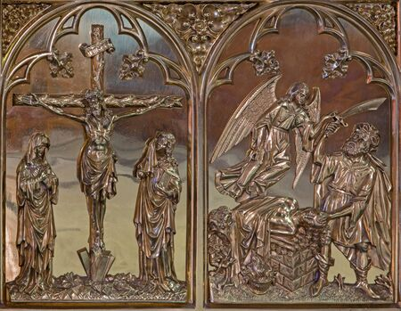 BRUGGE, BELGIUM - JUNE 13, 2014: The Crucifixion and the Offer of Abraham neogothic metal relief in st. Giles (Sint Gilliskerk). Editorial