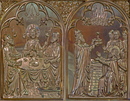 giles: BRUGGE, BELGIUM - JUNE 13, 2014: The Last supper of Jesus and the Abraham blessed by Melchizedek scene. Neogothic metal relief in st. Giles (Sint Gilliskerk).