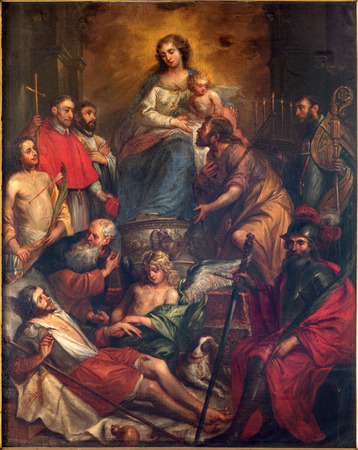 sacra: BRUGES, BELGIUM - JUNE 13, 2014:  Madonna and the saints or Sacra Conversatione by Jan Maes from 17. cent. in st. Giles church (Sint Gilliskerk) Editorial