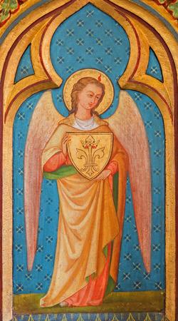 BRUGGE, BELGIUM - JUNE 13, 2014: Archangel Gabriel paint from side altar in st. Giles (Sint Gilliskerk).