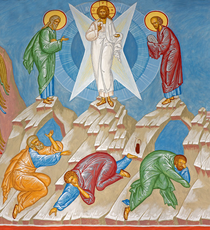 BRUGES, BELGIUM - JUNE 13, 2014: Fresco of the Transfiguration of Jesus scene in st. Constanstine and Helena orthodx church (2007 - 2008). Editoriali