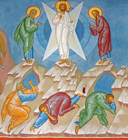 russian orthodox: BRUGES, BELGIUM - JUNE 13, 2014: Fresco of the Transfiguration of Jesus scene in st. Constanstine and Helena orthodx church (2007 - 2008). Editorial