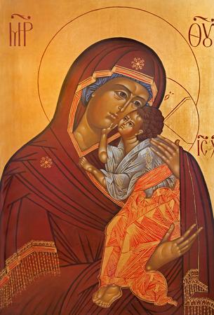 orthodoxy: BRUGGE, BELGIUM - JUNE 13, 2014: Madonna icon in st. Constanstine and Helena orthodx church (2007 - 2008).
