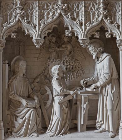 MECHELEN, BELGIUM - JUNE 14, 2014  The neogotic sculptural group of Holy family in the workroom st  Katharine church or Katharinakerk