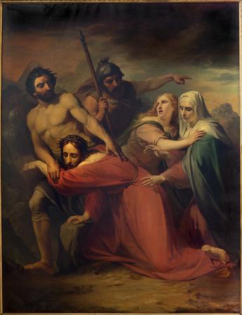 the passion of christ: BRUSSELS, BELGIUM - JUNE 15, 2014:  Jesus meets his mother. Paint by Jean Baptiste van Eycken (1809 - 1853) in Notre Dame de la Chapelle