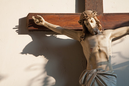 mediator: Jeusus on the cross in vestibule of church in Vienna