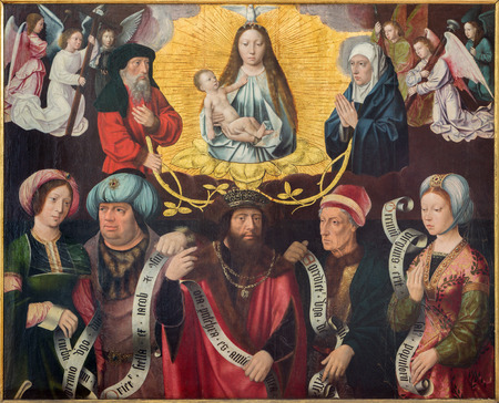 The Exaltation of the Holy Virgin by panter konwn as master of the holy blod in st. Jacobs church (Jakobskerk). Stok Fotoğraf