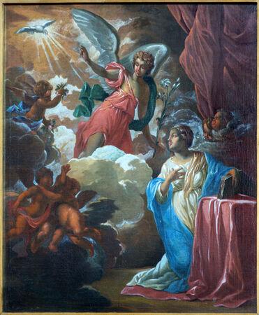 BRUGGE, BELGIUM - JUNE 12, 2014: The Annunciation paint by Jan van den Kerckhove 1707  in st. Jocobs church (Jakobskerk) Stock Photo - 30671504