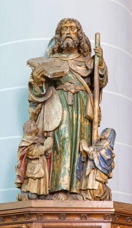 jacob: BRUGGE, BELGIUM - JUNE 12, 2014: The carved statue of the apostle st. Jacob  in st. Jocobs church (Jakobskerk)