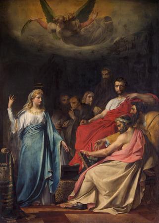 frans: MECHELEN, BELGIUM - JUNE 14, 2014: Paint of Sermon of st. Katharine by Frans Josef Navez (1818)  in st. Johns church or Janskerk.