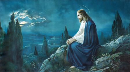 Jezus: ROZNAVA, Słowacja - 21 lipca 2014: Modlitwa Jezusa w ogrodzie Getsemani. Typowy cahtolic drukowany obraz z końcem 19 procent.