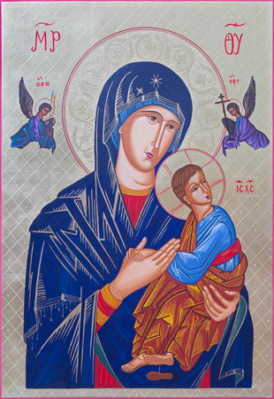 orthodoxy: ROZNAVA, SLOVAKIA - JULY 21, 2014: The icon of Madonna with the child by Peter Nedoroscik 2004.