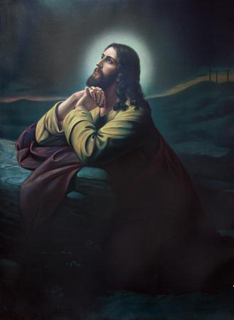 Jezus: Sebechleby, Słowacja - 31 lipca 2014: Modlitwa Jezusa w ogrodzie Getsemani. Typowy cahtolic drukowany obraz z końcem 19 procent. pierwotnie przez malarza z pseudonimem Lindberg