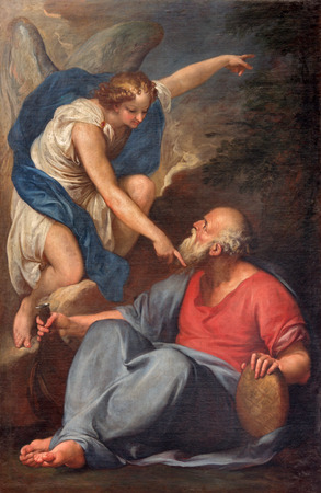VENICE, ITALY - MARCH 13, 2014: The Prophet Elijah Receiving Bread and Water from an Angel by unknown painter in church Santa Maria della Salute.
