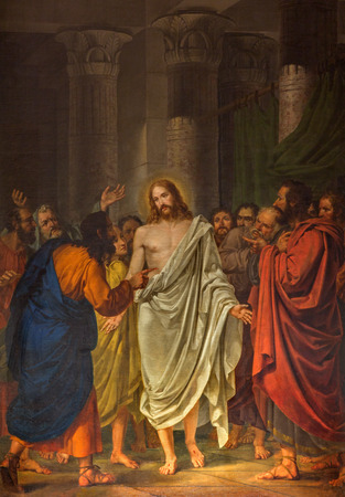 VENICE, ITALY - MARCH 13, 2014:  Christ between the Apostles by Sebastiano Santi (1828) in church Chiesa dei Santi. XII Apostoli Editoriali