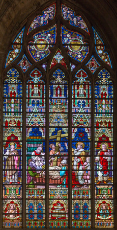 constantine: BRUGES, BELGIUM - JUNE 12, 2014: The death of st. Helen on windowpane in St. Salvators Cathedral (Salvatorskerk) by stained glass artist Samuel Coucke (1833 - 1899)