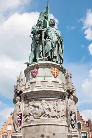 Bruges - The memorial of Jan Breydel and Pieter De Coninck on the Grote Markt square