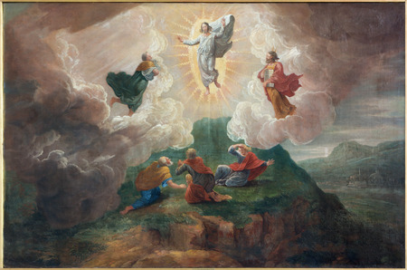 BRUGES, BELGIUM - JUNE 12, 2014: The Transfiguration of the Lord by D. Nollet (1694) in st. Jacobs church (Jakobskerk). 에디토리얼