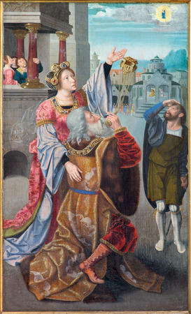 st lucia: BRUGES, BELGIUM - JUNE 12, 2014: The Legenda of st. Lucia by The Master of Leganda of st. Lucia (cca 1480)  in st. Jacobs church (Jakobskerk). Editorial