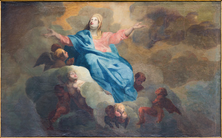 assumption: BRUGES, BELGIUM - JUNE 12, 2014: The Assumption of Virgin Mary paint by J. Garemijn (1750) as the part of 14 paintings of the mysteries of Rosary in Saint Walburga church.