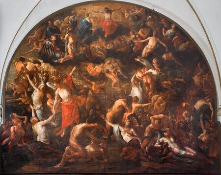 henri: BRUGGE, BELGIUM - JUNE 13, 2014: The Last judgment fresco in The Annakerk or Annes church by Henri Herrecoudts (1665),