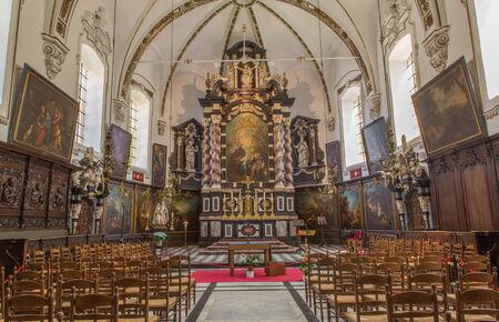 sain: BRUGES, BELGIUM - JUNE 14, 2014: Nave of Saint  Ann  gothic church (Sint Annakerk).