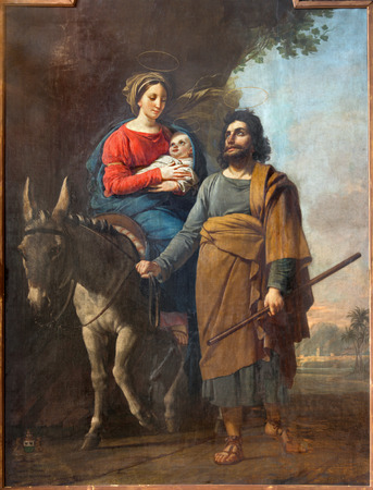 sacra famiglia: Malines, Belgio - 14 Giugno 2014: Vernice di Fly in Egitto da Jozef Paelinck (1829) in v. Katharine chiesa o Katharinakerk Editoriali